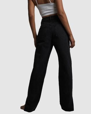 Cotton On Straight Split Jeans - Flares (Midnight Black)