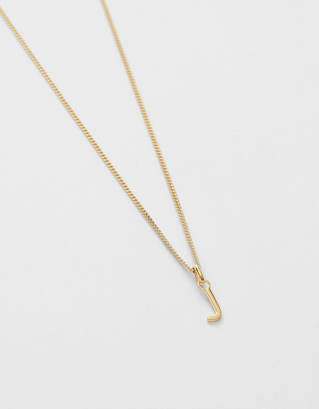 Women J Outline Initial Necklace
