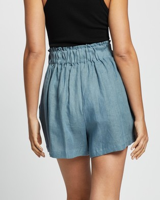 AERE Linen Lounge Shorts - High-Waisted (Stormy Blue)