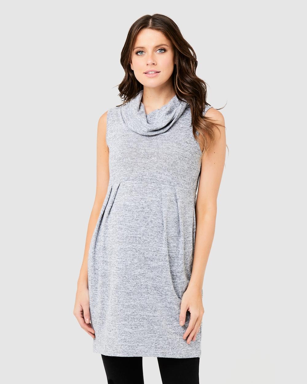 Ripe Maternity - Melange Tunic Dresses (Ash)