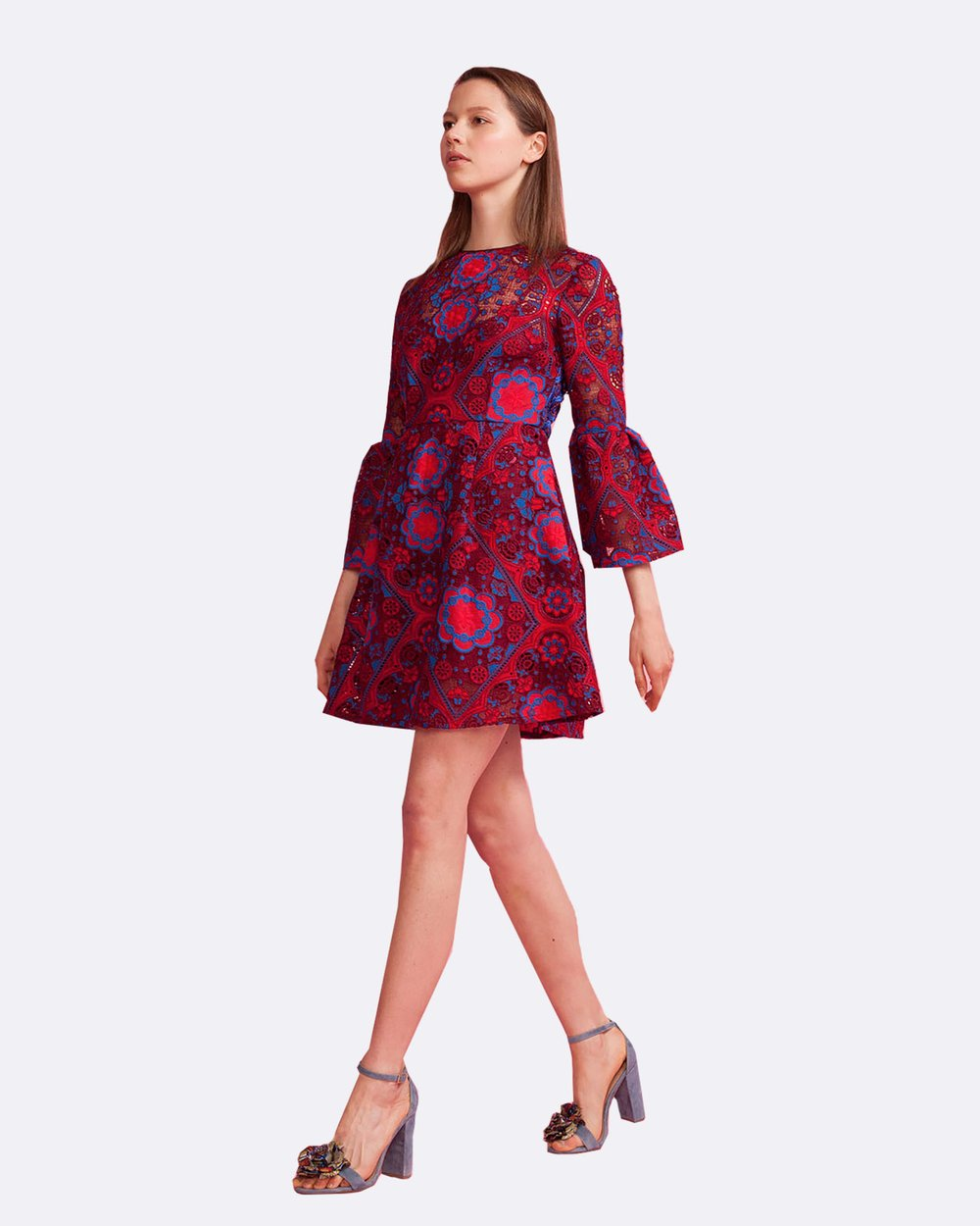 154324cb76ea Floral Lace Ruffle Sleeve Dress by Cynthia Rowley Online | THE ICONIC |  Australia