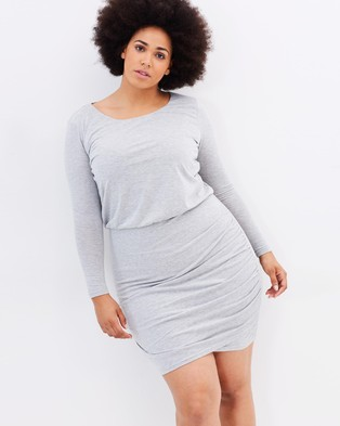 Atmos & Here Curvy – Pia Ruched Body Con Dress – Bodycon Dresses (Grey Marl)