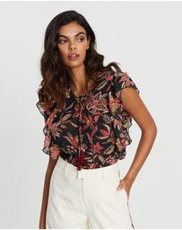 Scotch & Soda - Floral Lace Up Top
