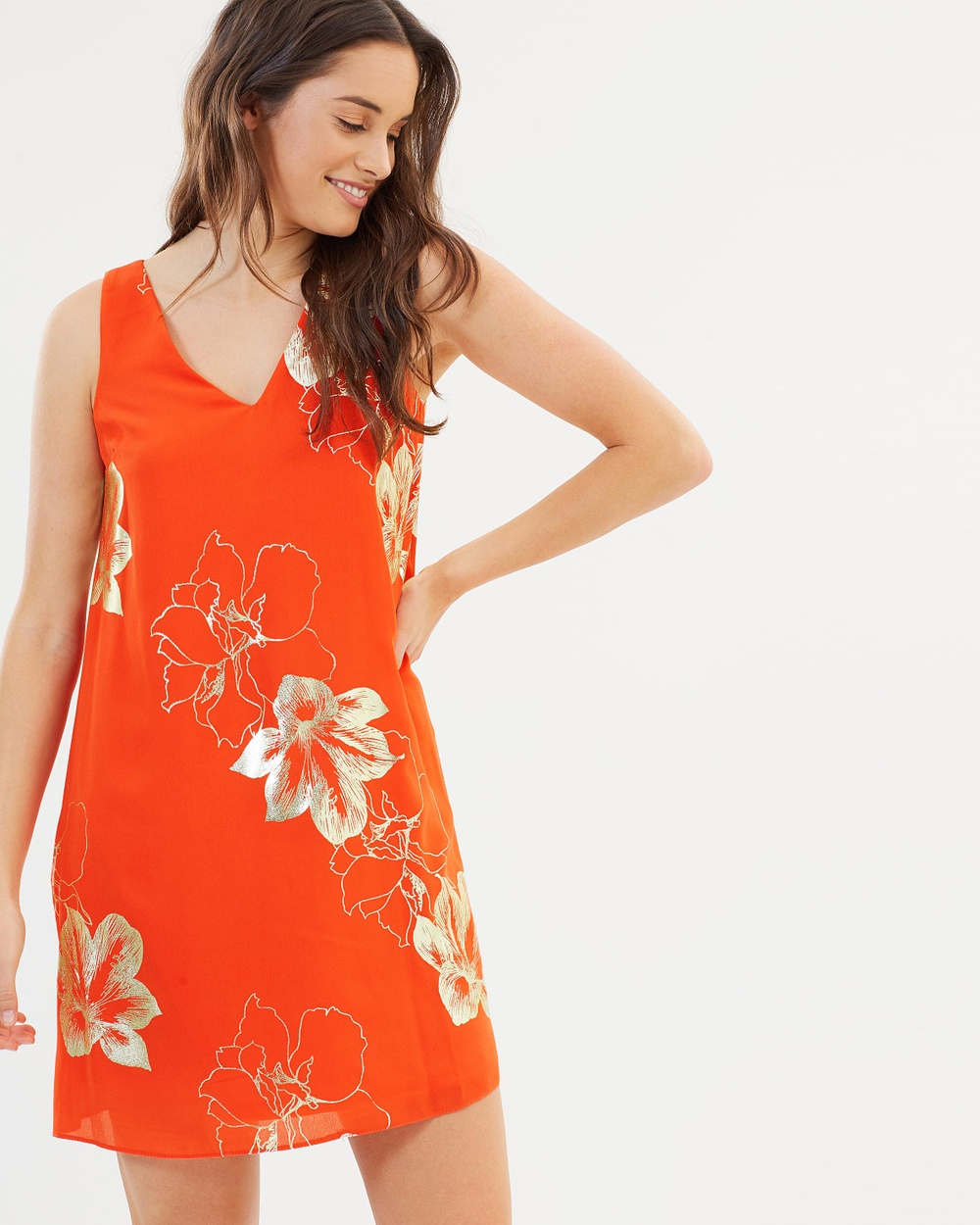 Dorothy Perkins Foil Print Shift Dress Printed Dresses Orange Foil Print Shift Dress