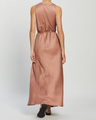 BONDI BORN Fluid V Neck Dress - Dresses (Guava)