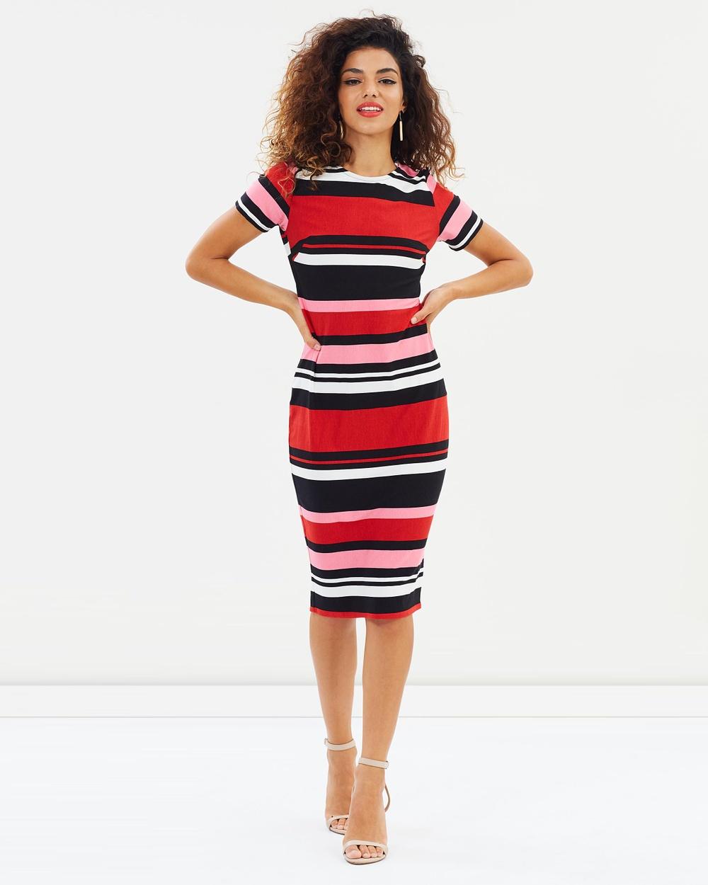 DP Petite Striped Body Con Dress Bodycon Dresses Multi Bright Striped Body-Con Dress