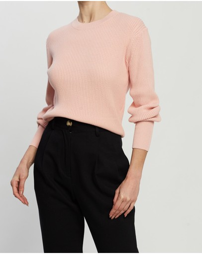 St Cloud Label Cropped Rib Crew Peachy Pink