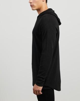 Silent Theory - Hooded Waffle Long Sleeve Tee - Long Sleeve T-Shirts (BLACK) Hooded Waffle Long Sleeve Tee