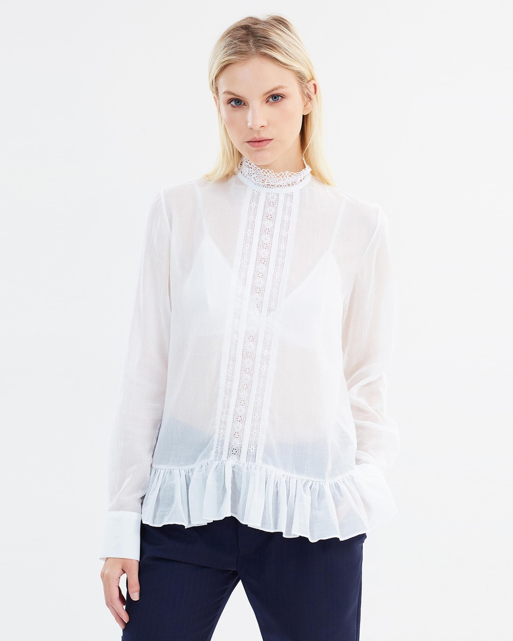 Matin Almere Lace Trim Top Tops White Almere Lace Trim Top