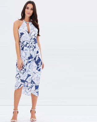 3rd Love – Summer Bloom Sketches Halter Neck Drape Dress – Dresses (Navy)