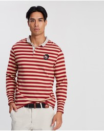 Kent and Curwen - Striped Long Sleeve Polo