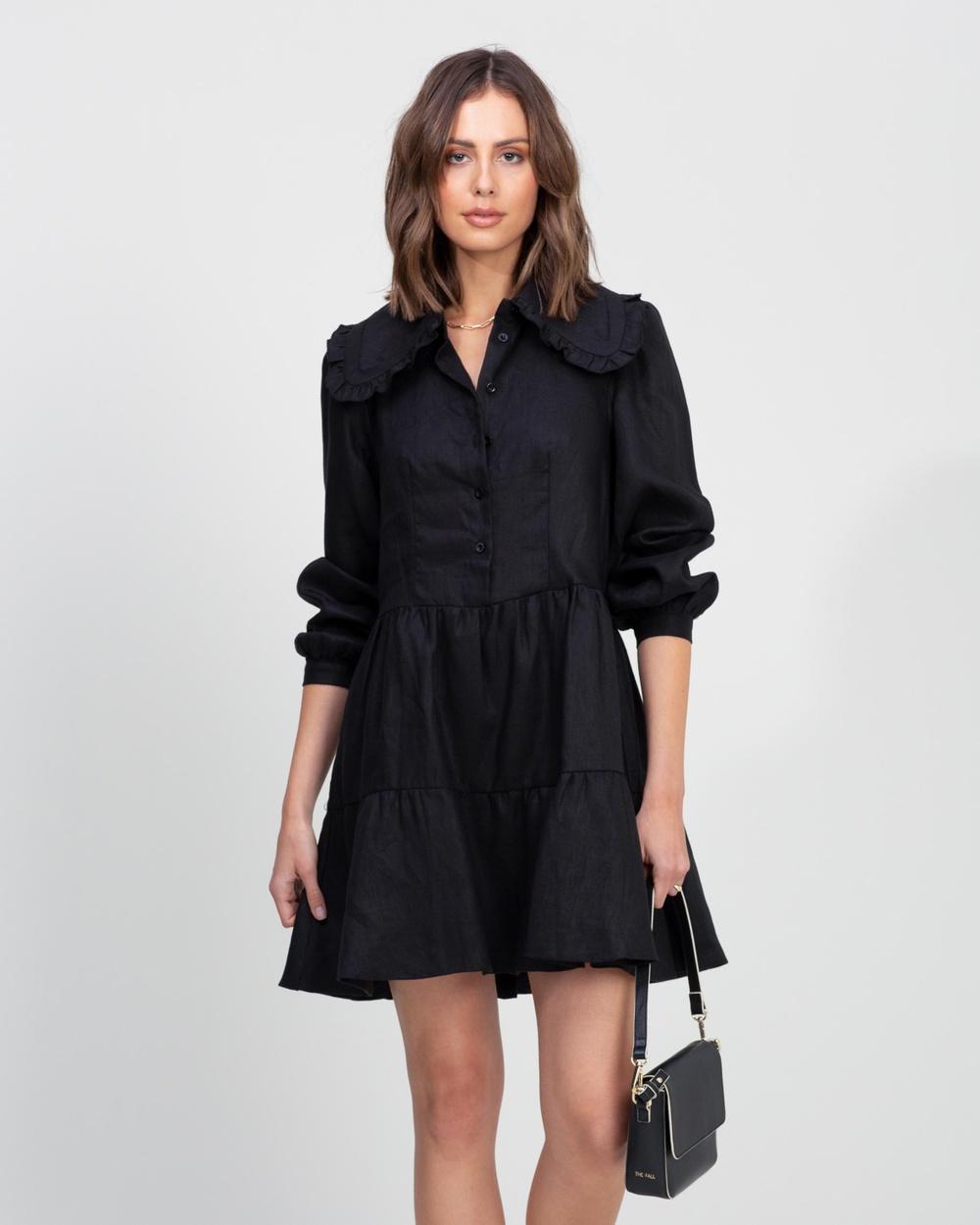 AERE Linen Collared Puff Sleeve Mini Dress Dresses Black