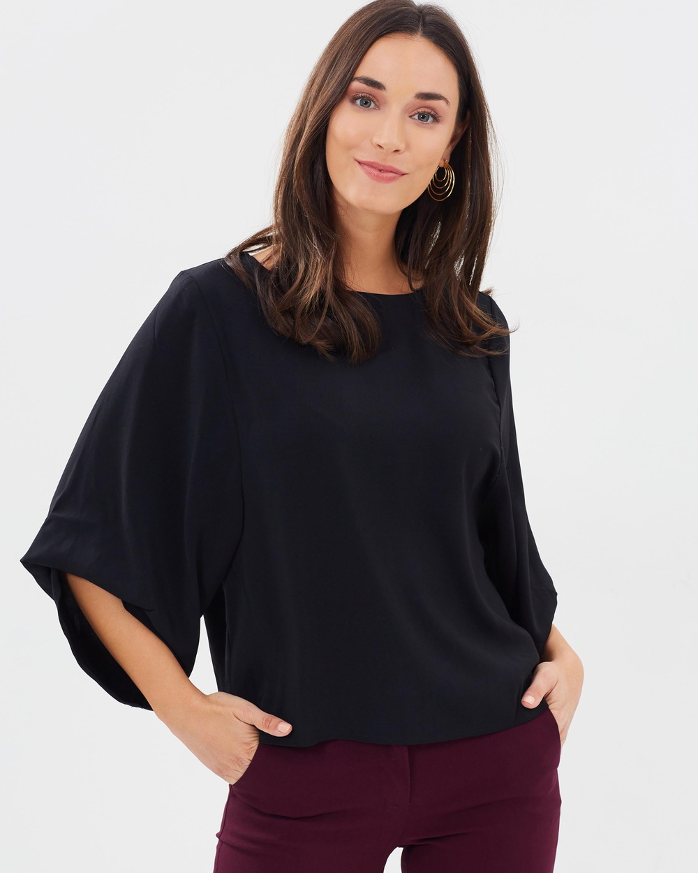 Forcast Alissa Drape Sleeve Top Tops Black Alissa Drape Sleeve Top