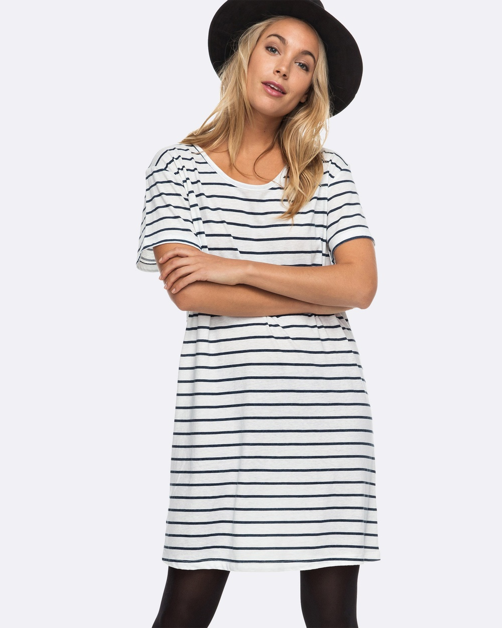 Roxy Womens Just Simple Stripe T Shirt Dress Swimwear MARSHMALLOW LEXI STR Womens Just Simple Stripe T Shirt Dress