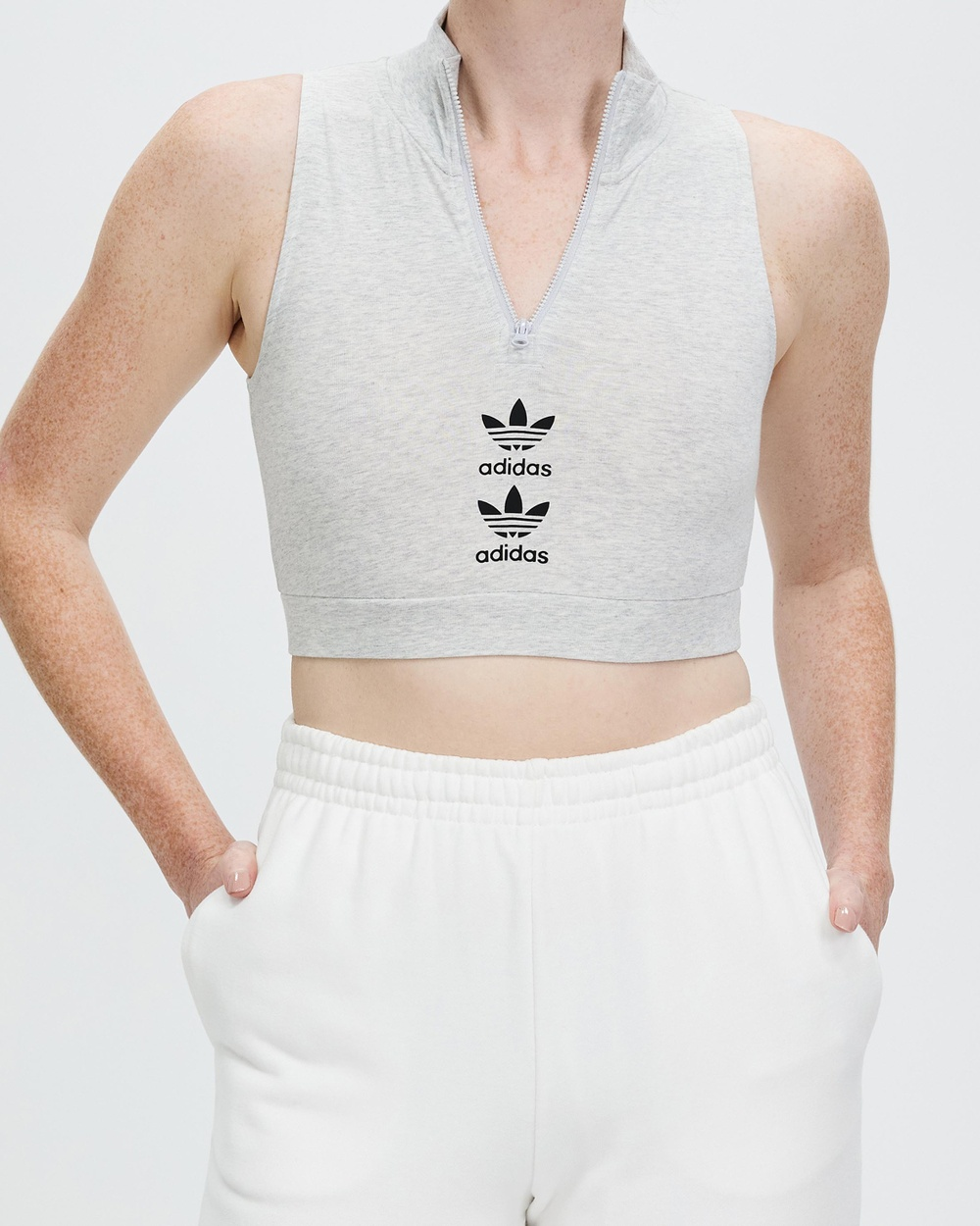 adidas Originals Logo Play Cropped Tank Muscle Tops Light Grey Heather