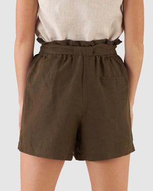 Amelius Sahara Linen Shorts Khaki