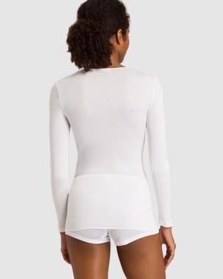 HANRO Cotton Seamless Long Sleeve Shirt - Sleepwear (White)