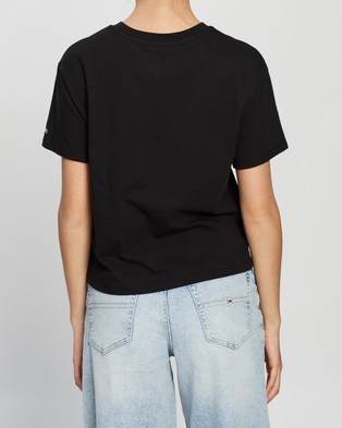 Tommy Jeans Tommy Flag Tee - T-Shirts & Singlets (Black)