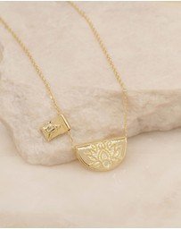 By Charlotte - Lotus Little Buddha Short Gold Pendant Necklace
