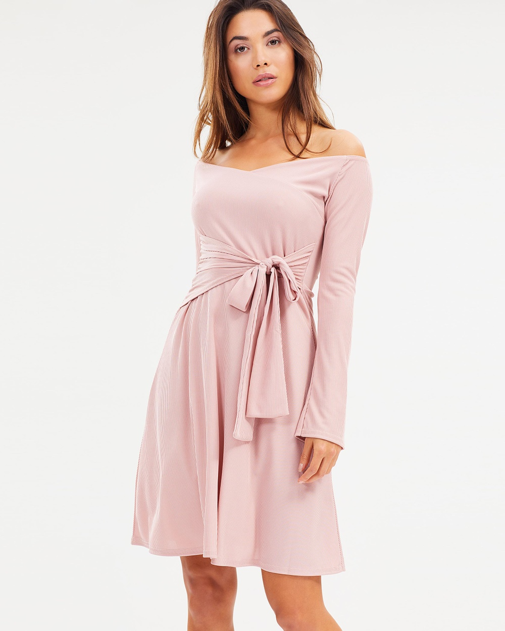 Lost Ink Jersey Fit and Flare Wrap Dress Dresses Pink Jersey Fit-and-Flare Wrap Dress