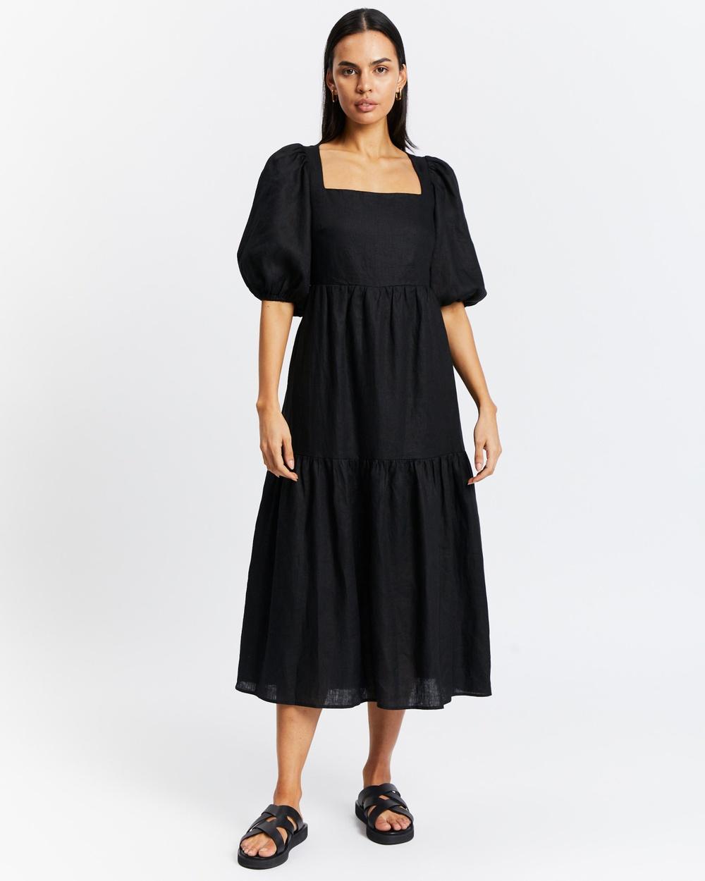 AERE Tie Back Linen Dress Dresses Black