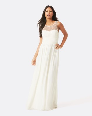 Little Mistress – Embellished Maxi Dress – Bridesmaid Dresses (Cream)
