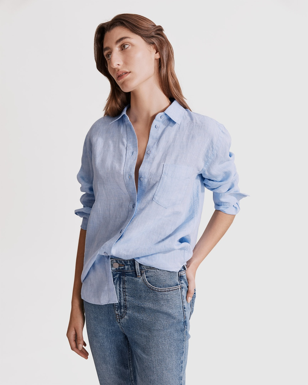 Country Road Organically Grown French Linen Shirt Shirts & Polos blue Australia