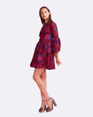 Cynthia Rowley – Floral Lace Ruffle Sleeve Dress – Dresses (Red)
