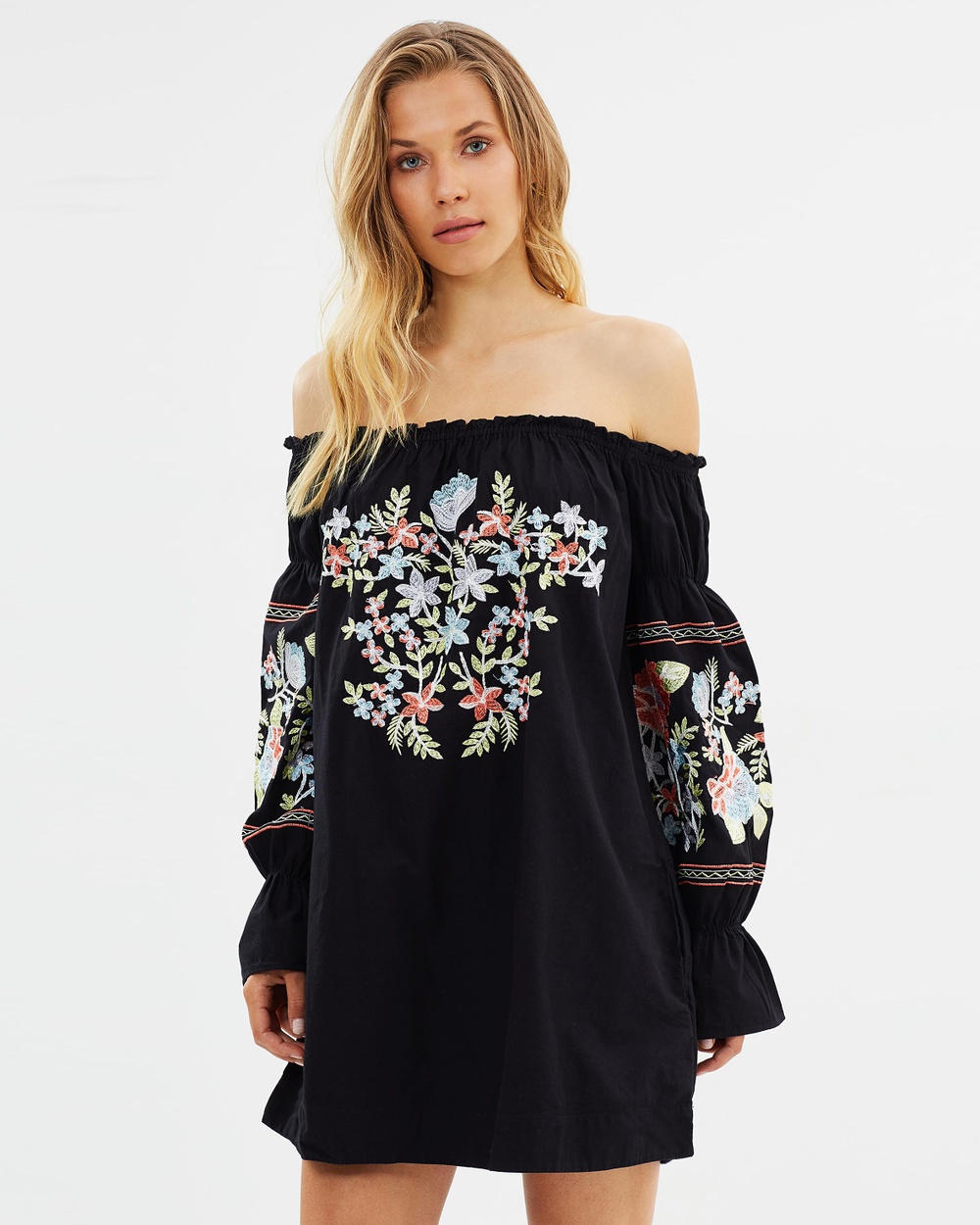 Free People Fleur Du Jour Mini Dress Dresses Black Fleur Du Jour Mini Dress