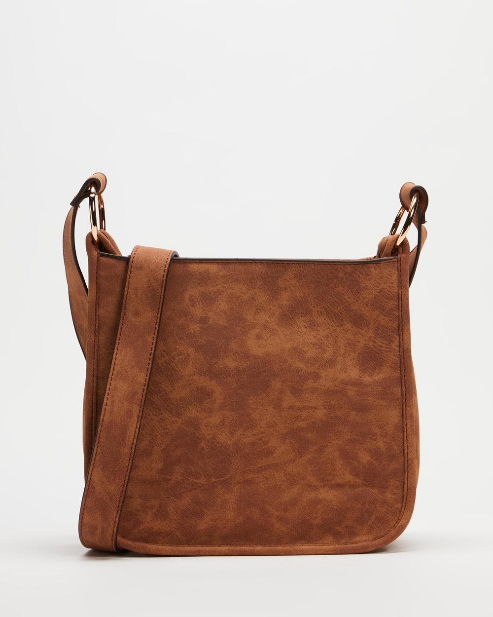 Dorothy Perkins Zip Front Tassel Crossbody Bag Bags Tan