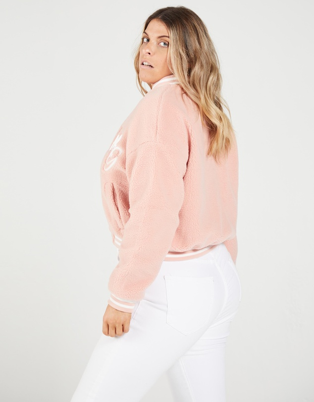 Women Plus Pastel Borg Varsity Jacket