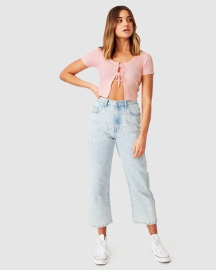 Supre Averi Tie Front Knit - Cropped tops (Tickle Pink)