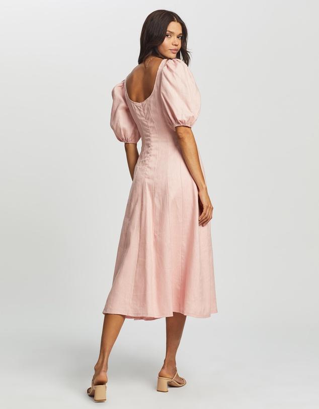 Women Puff Sleeve Midi Dress