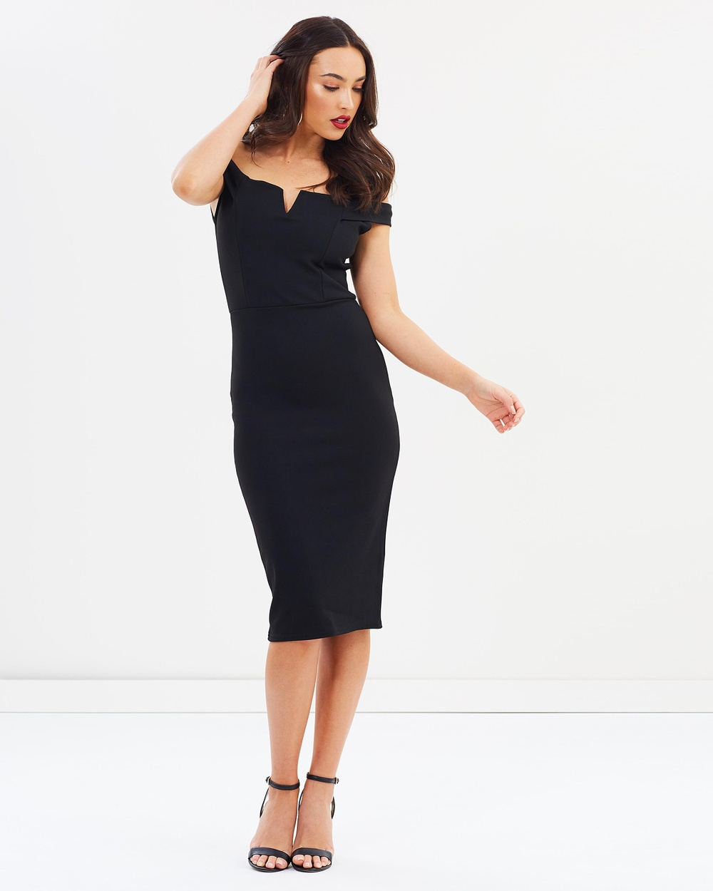 Missguided V Front Bardot Midi Dress Bodycon Dresses Black V Front Bardot Midi Dress