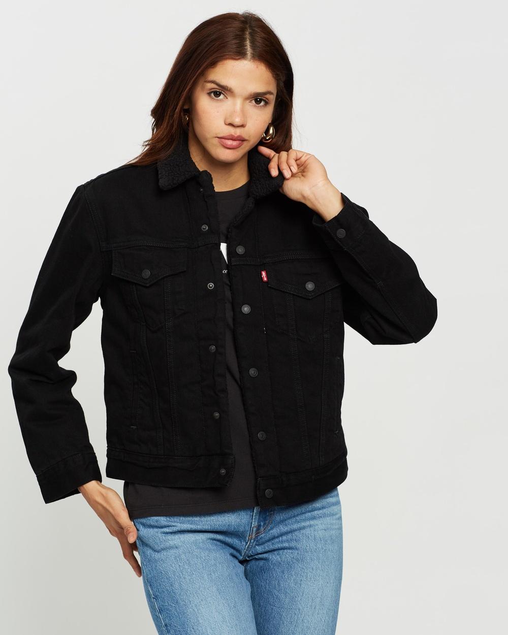 Levi's Ex Boyfriend Sherpa Trucker Jacket Denim jacket Black Ex-Boyfriend Australia