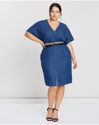 Lost Ink Plus - Denim Dress With Wrap And Belt