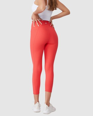 Cotton On Body Active Rib Pocket 7 8 Tights - 7/8 Tights (Candy Red)