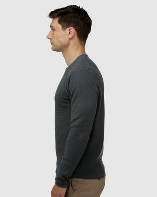 Brooksfield Textured Core Crew Neck Sweater - Jumpers & Cardigans (Forest)