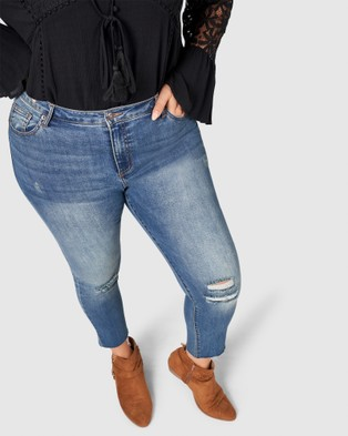 The Poetic Gypsy Gypsy Love Raw Hem Jeans - Jeans (BLUE)