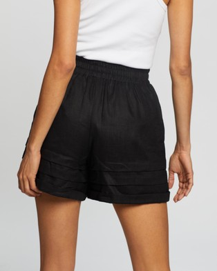 AERE Pleat Detail Pull On Shorts High-Waisted Black Pull-On