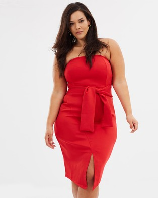 Atmos & Here Curvy – Gabbi Strapless Bow Dress – Bodycon Dresses (Red)
