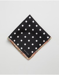 Paul Smith - Polka Dot Silk Pocket Square with Signature Stripe Border