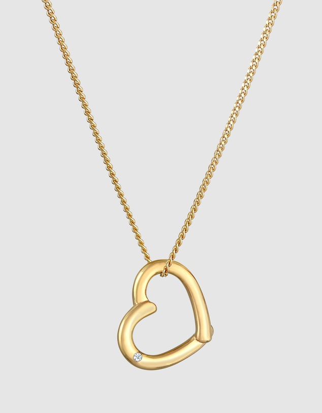 Elli Jewelry - Necklace Heart Pendant Love Elegant with Diamond (0.02 ct.) in 925 Sterling Silver Gold Plated