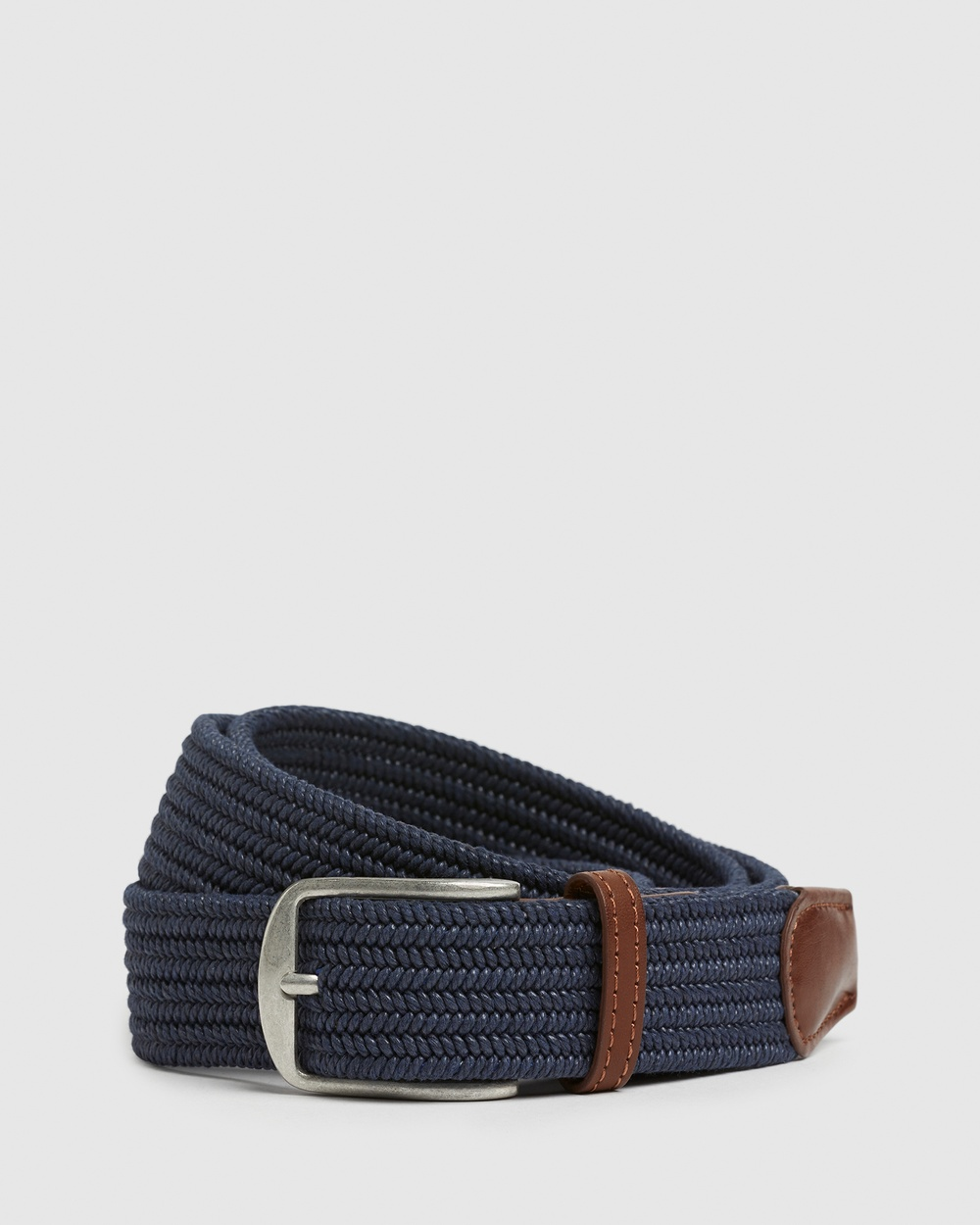 French Connection Woven Stretch Belt Belts NAVY/TAN