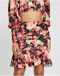 Boohoo - Floral Ruched Drop Hem Mini Skirt