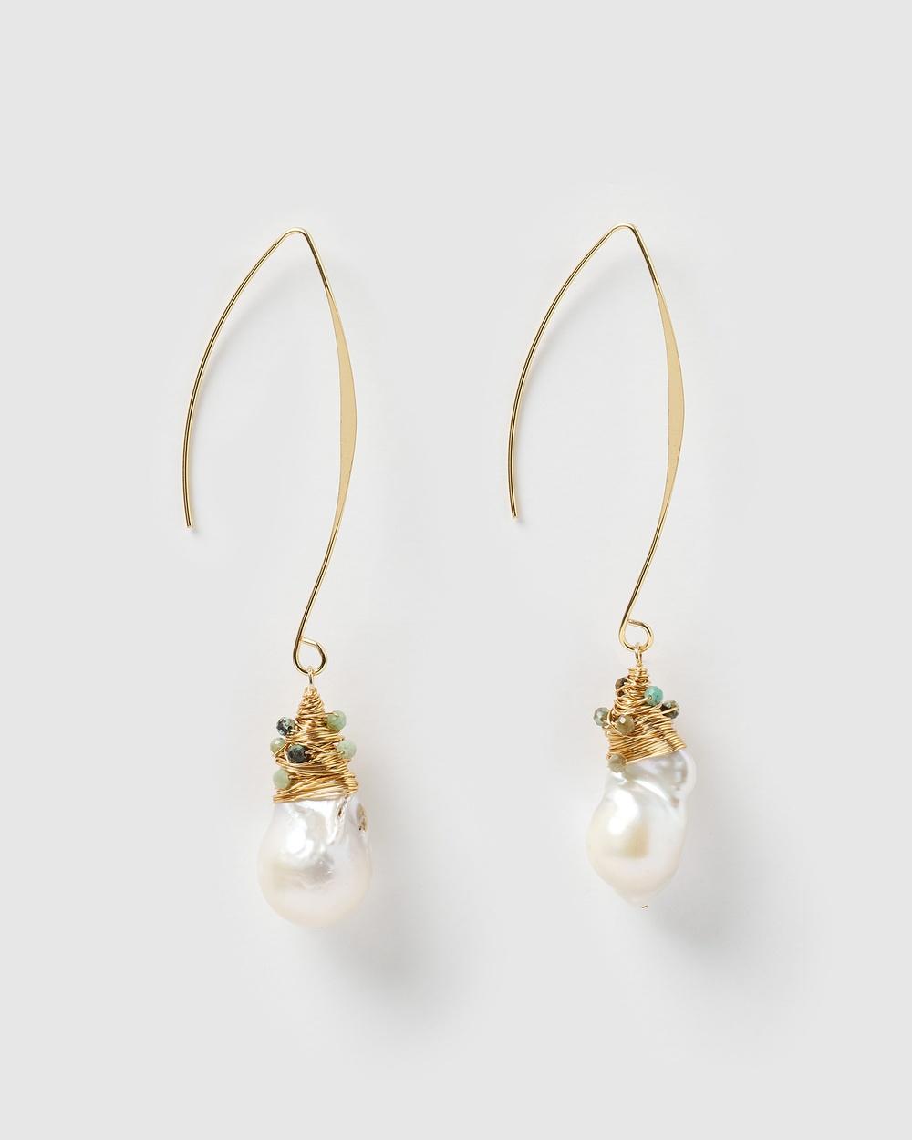 Miz Casa and Co Kelsey Drop Earrings Jewellery Freshwater Pearl Turquoise