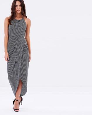 Shona Joy – Mirage High Neck Ruched Dress – Dresses (Black & White)