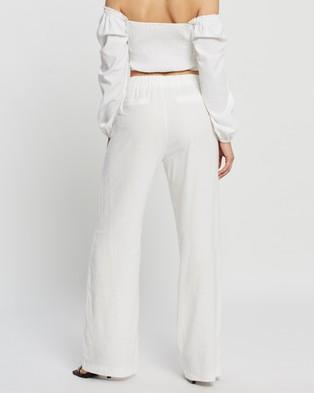 Dazie Long Lunch Linen Blend Pants - Pants (White)