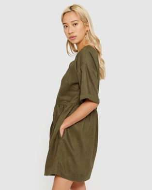 Jag Elly Linen Swing Dress - Dresses (green)