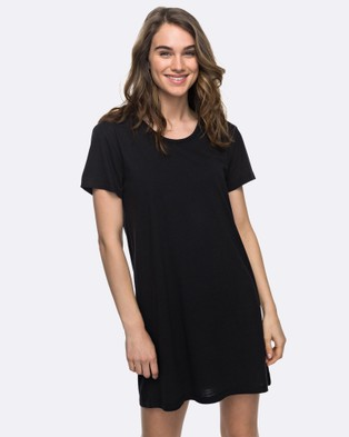 Roxy – Womens Just Simple Solid T Shirt Dress – Swimwear Anthracite
